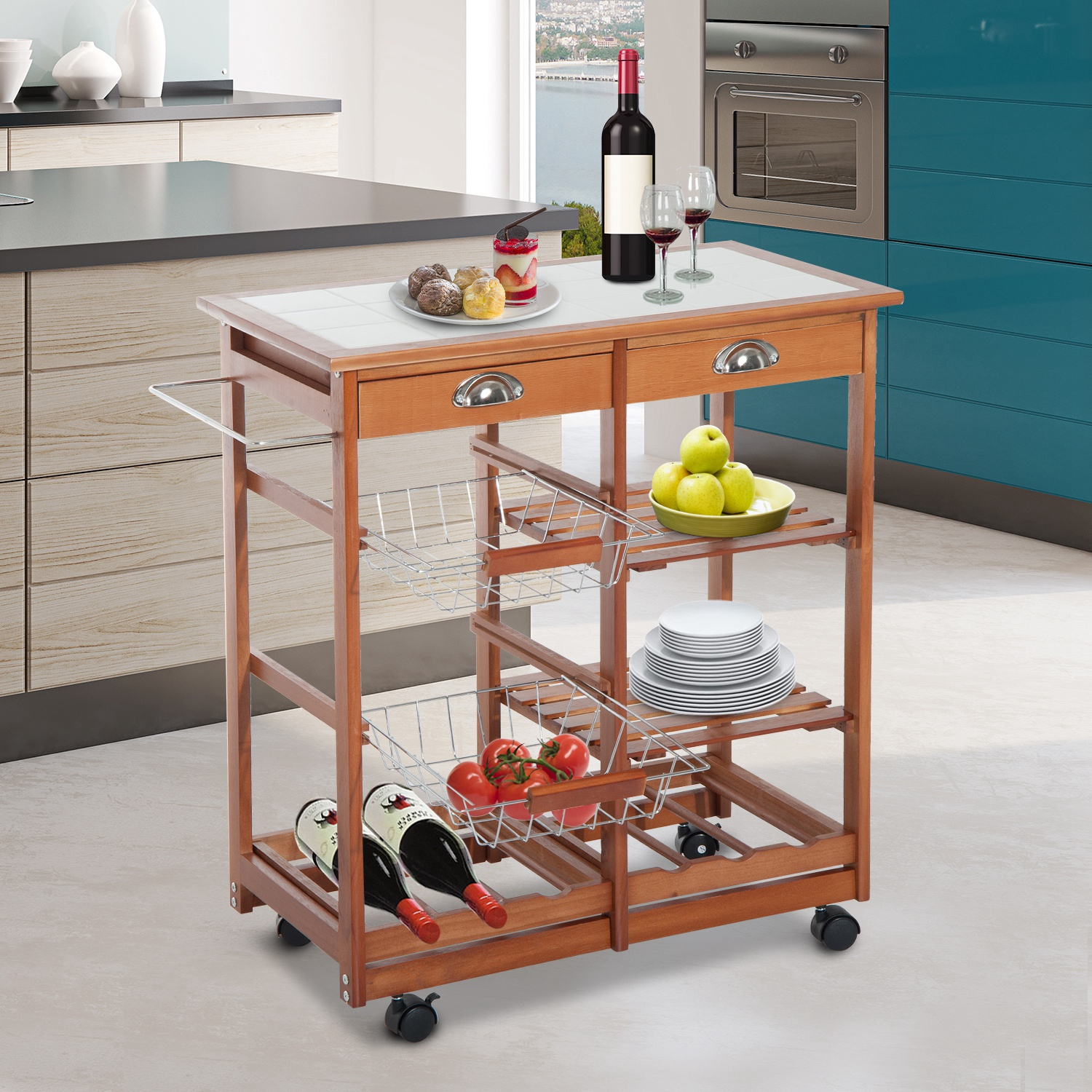 Homcom Rolling Kitchen Trolley Cart 4 Tier Storage Wooden Table Rack 2 Drawers Baskets Countertop